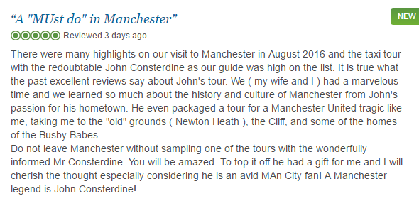 Manchester Taxi Tours TripAdvisor Review