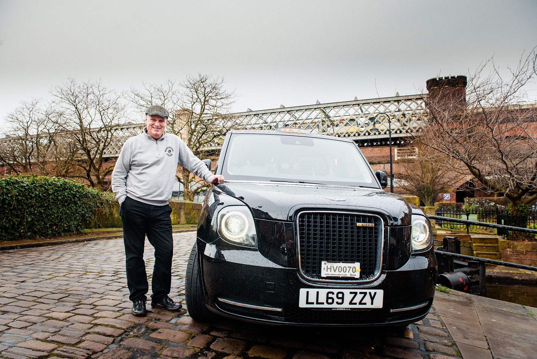 electric black cab in castlefield